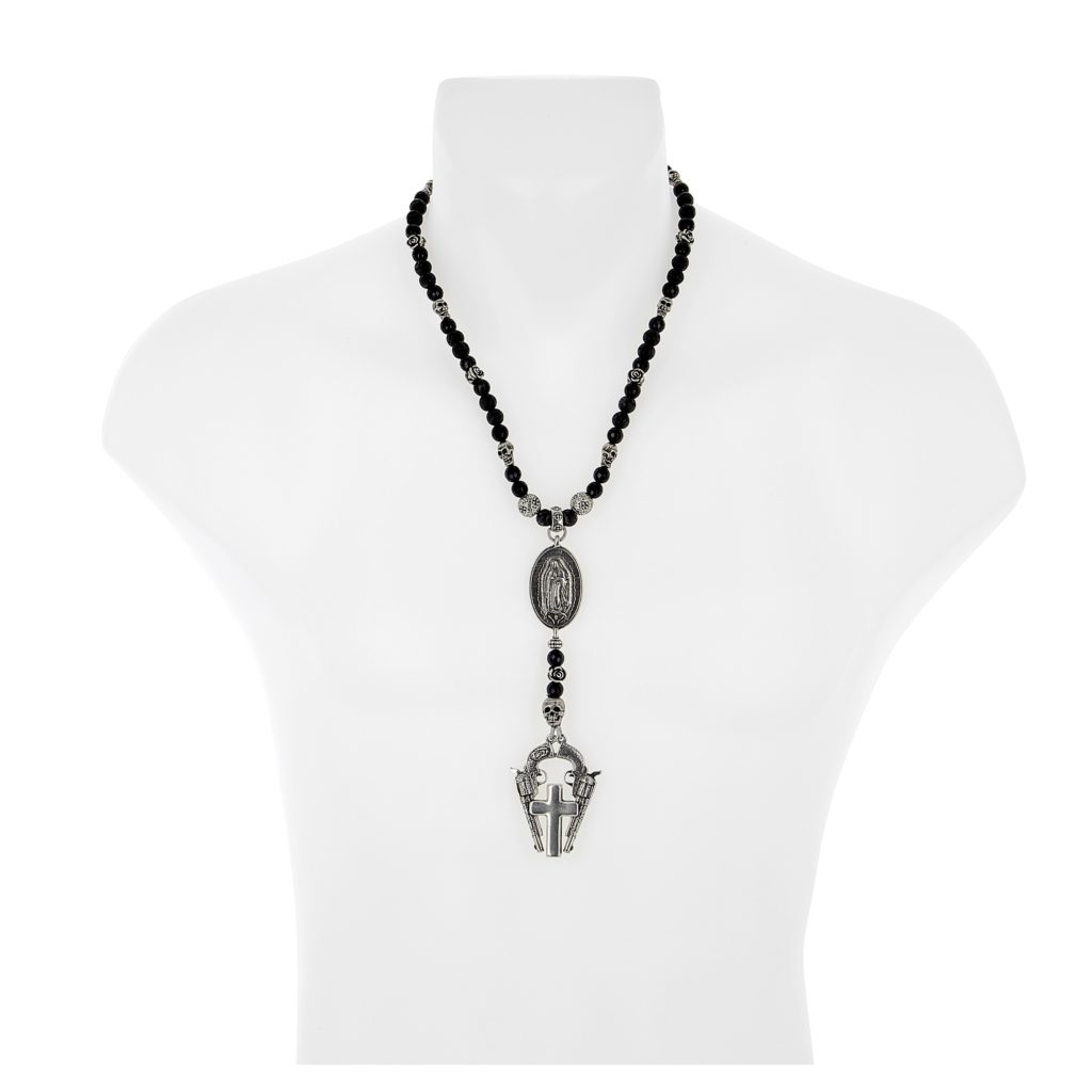 Virgin guadalupe rosary necklace on onyx and lava rock beads luis home mozeypictures Choice Image